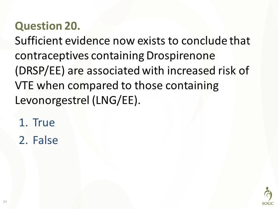 Question 20. Sufficient evidence now exists to conclude that contraceptives containing Drospirenone (DRSP/EE) are associated with increased risk of VTE when compared to those containing Levonorgestrel (LNG/EE).
