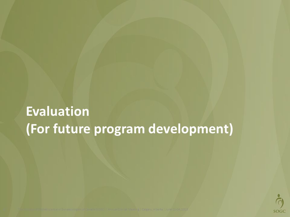 Evaluation (For future program development)