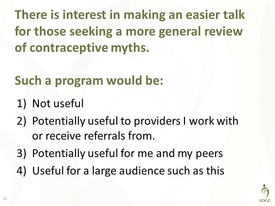 There is interest in making an easier talk for those seeking a more general review of contraceptive myths. Such a program would be: