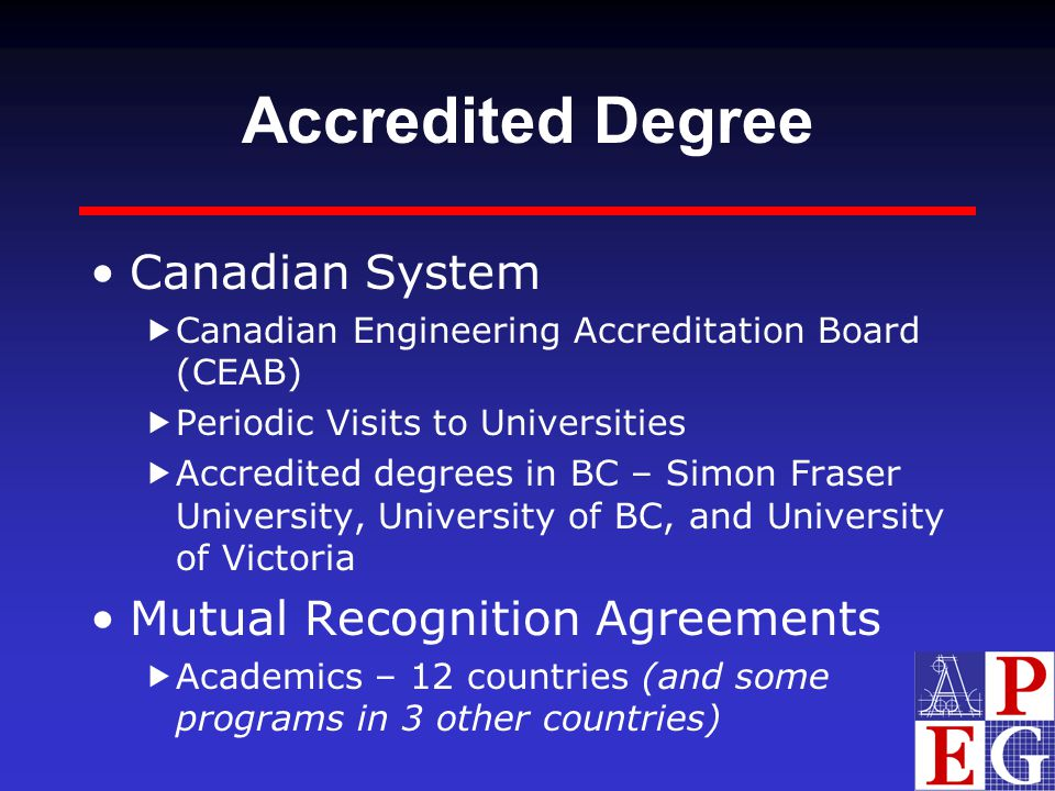Accredited Degree Canadian System Mutual Recognition Agreements