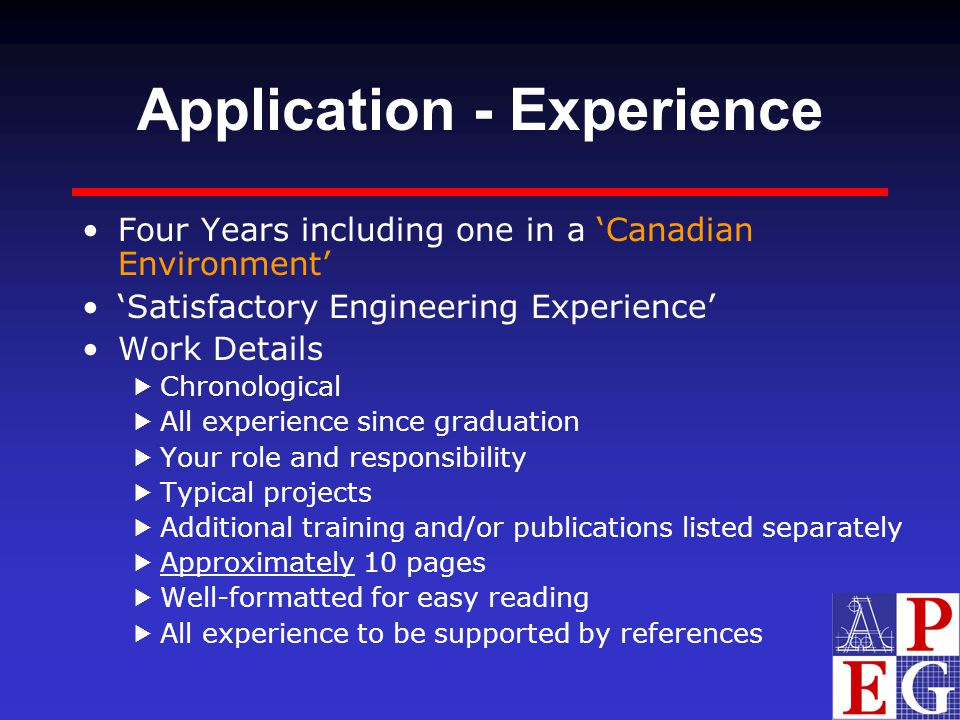 Application - Experience