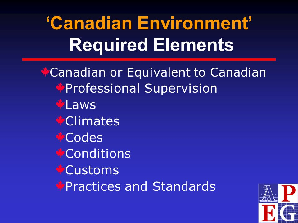 'Canadian Environment' Required Elements