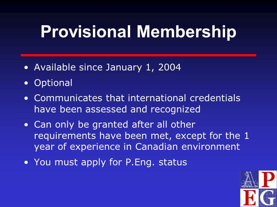 Provisional Membership