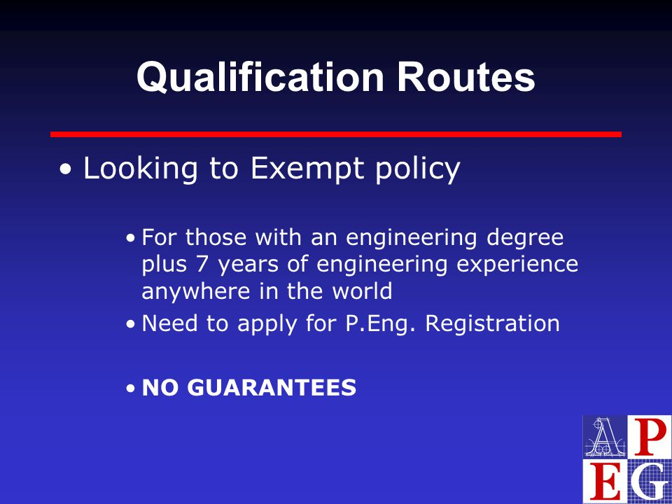 Qualification Routes Looking to Exempt policy
