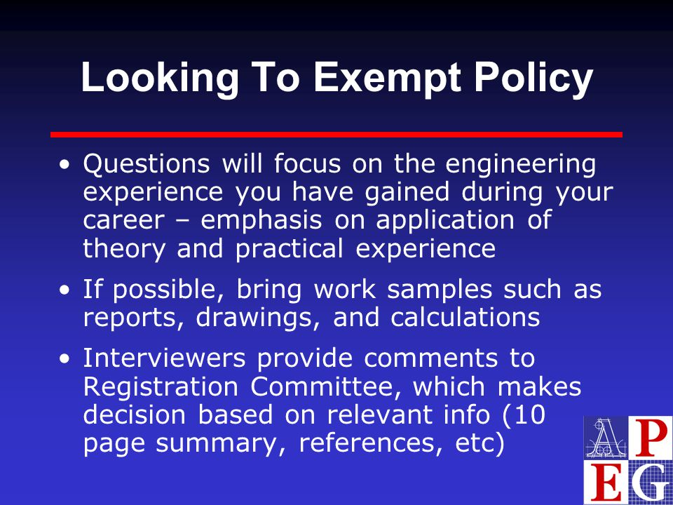 Looking To Exempt Policy