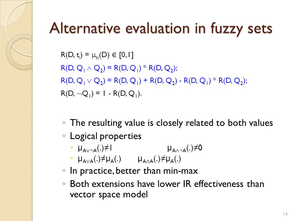 Alternative evaluation in fuzzy sets
