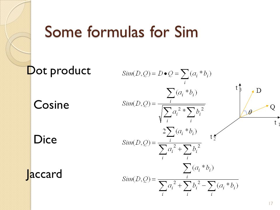 Some formulas for Sim Dot product Cosine Dice Jaccard t 3 D Q t 1 t 2