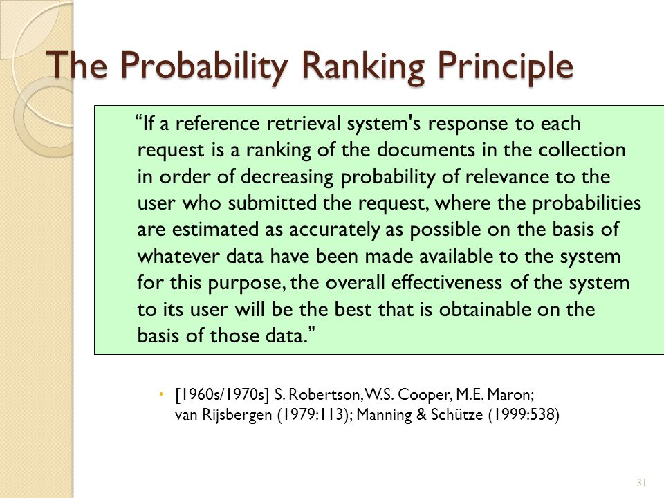 The Probability Ranking Principle