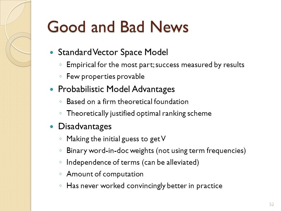 Good and Bad News Standard Vector Space Model
