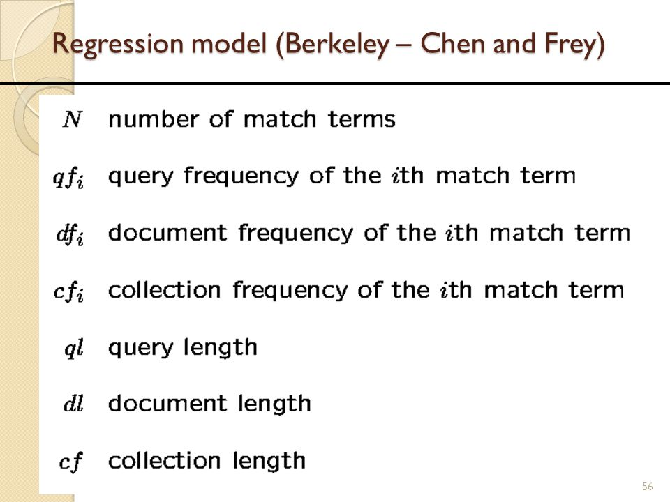Regression model (Berkeley – Chen and Frey)