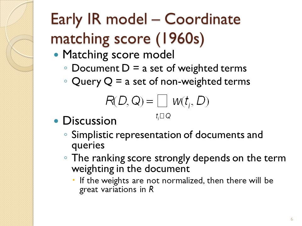 Early IR model – Coordinate matching score (1960s)