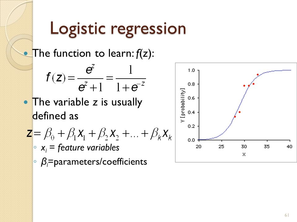 Logistic regression The function to learn: f(z):