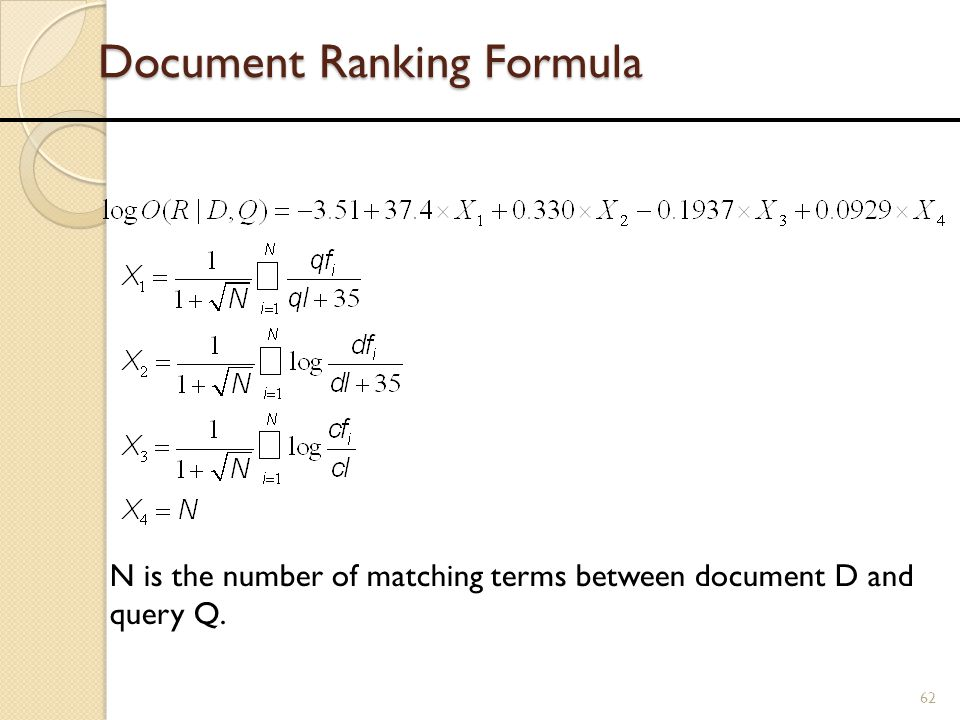 Document Ranking Formula