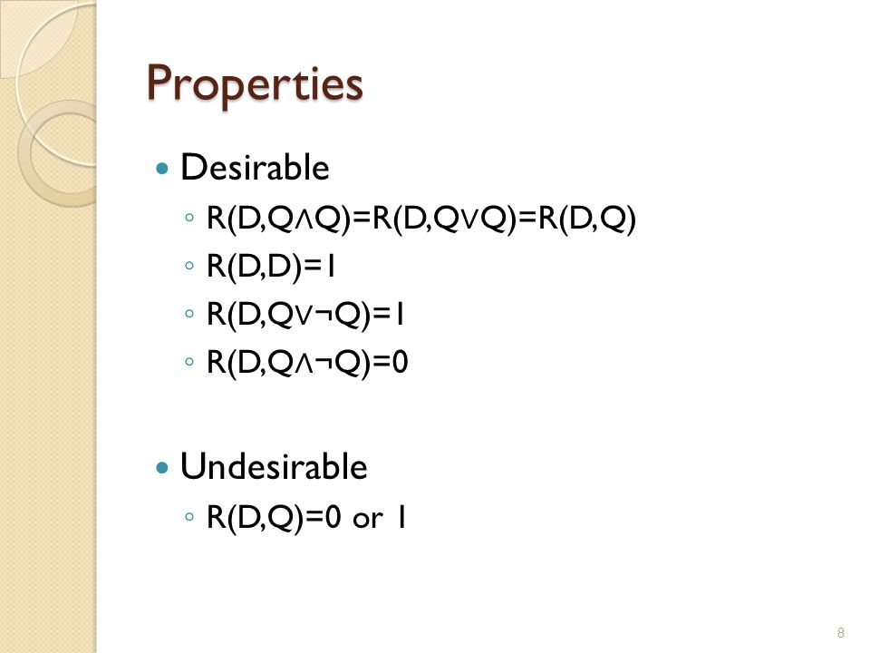 Properties Desirable Undesirable R(D,Q∧Q)=R(D,Q∨Q)=R(D,Q) R(D,D)=1