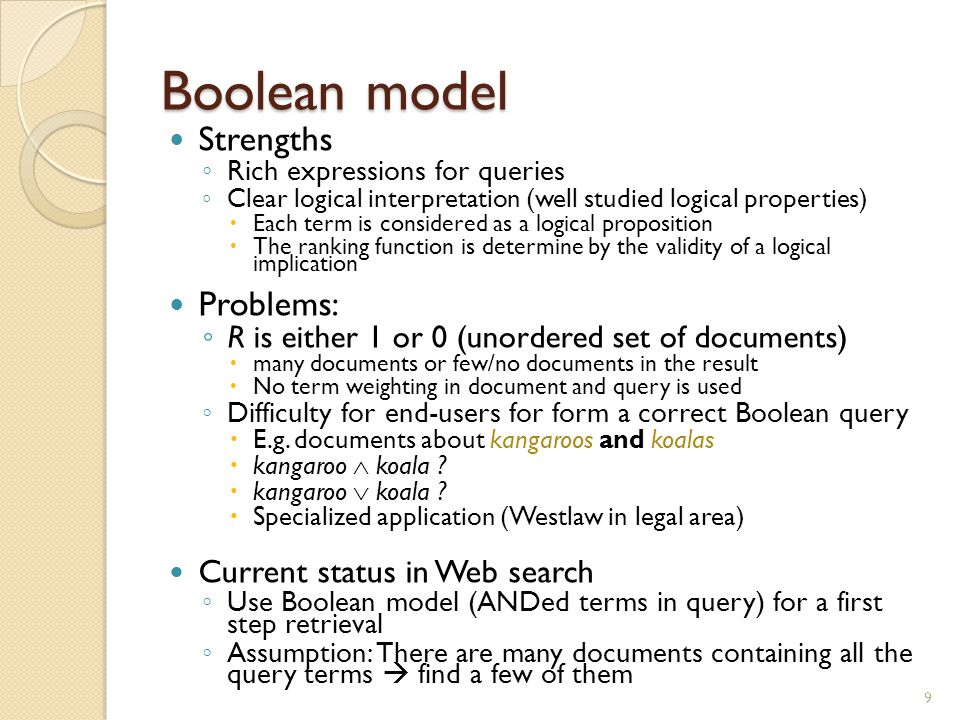 Boolean model Strengths Problems: Current status in Web search