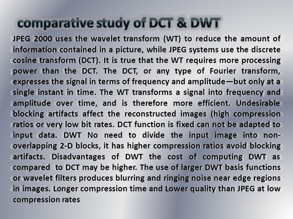 comparative study of DCT & DWT