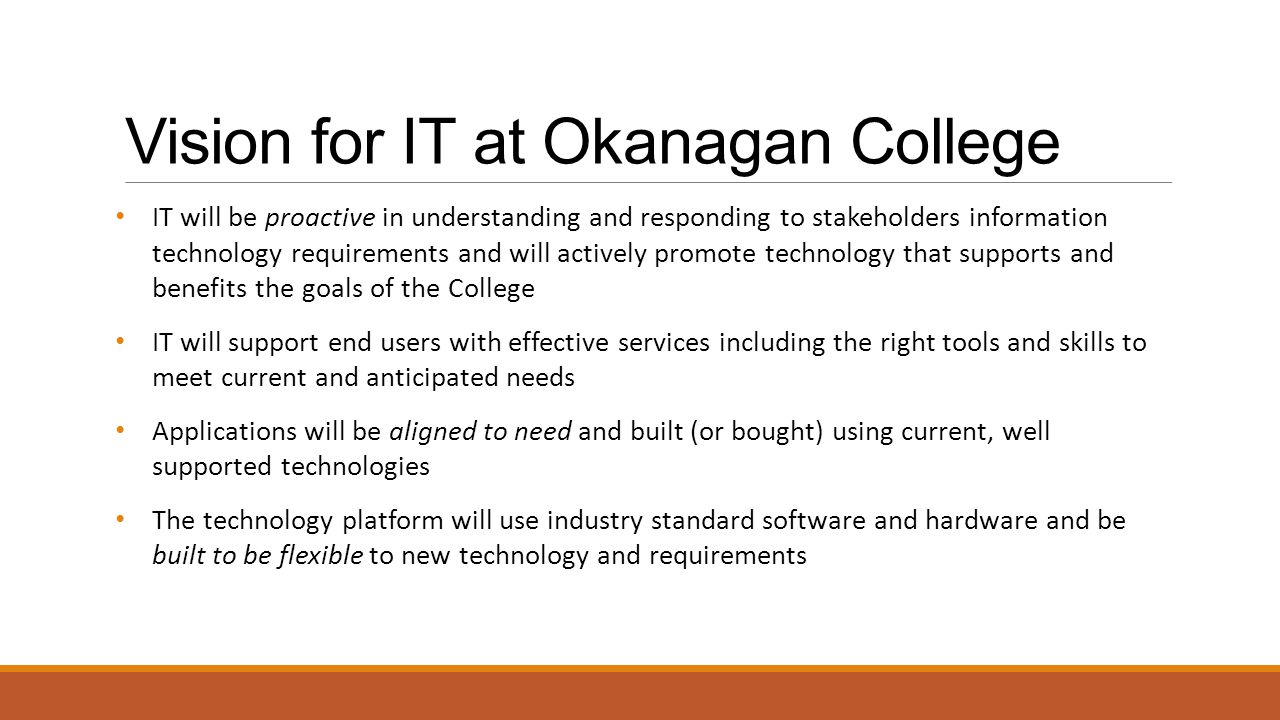 Vision for IT at Okanagan College