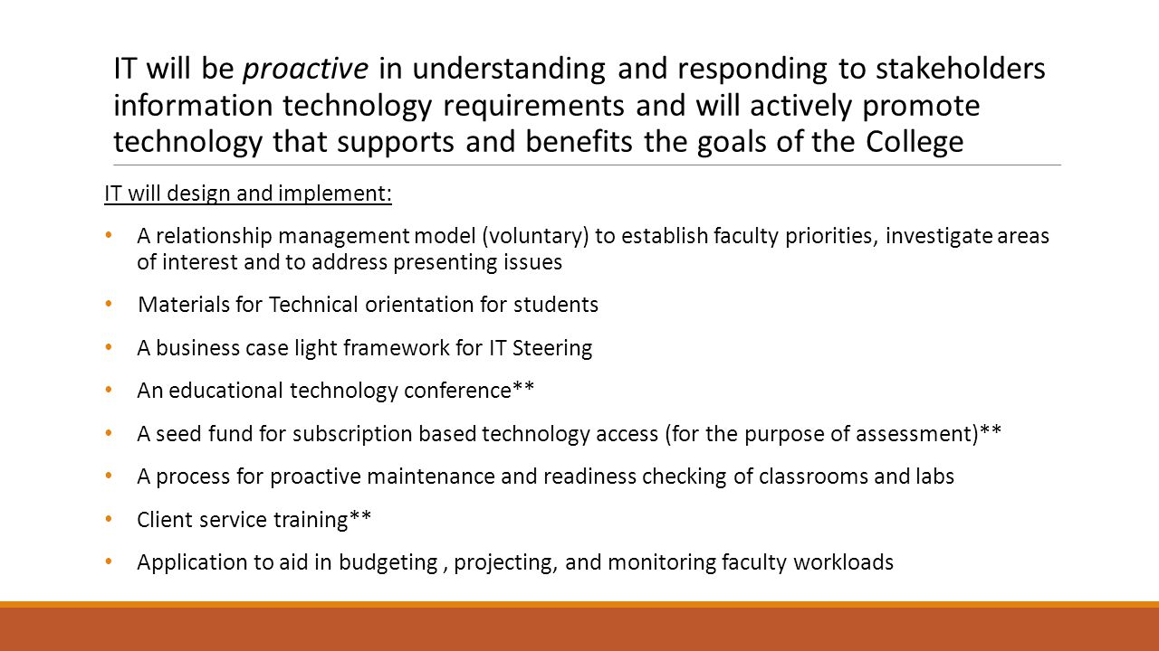 IT will be proactive in understanding and responding to stakeholders information technology requirements and will actively promote technology that supports and benefits the goals of the College