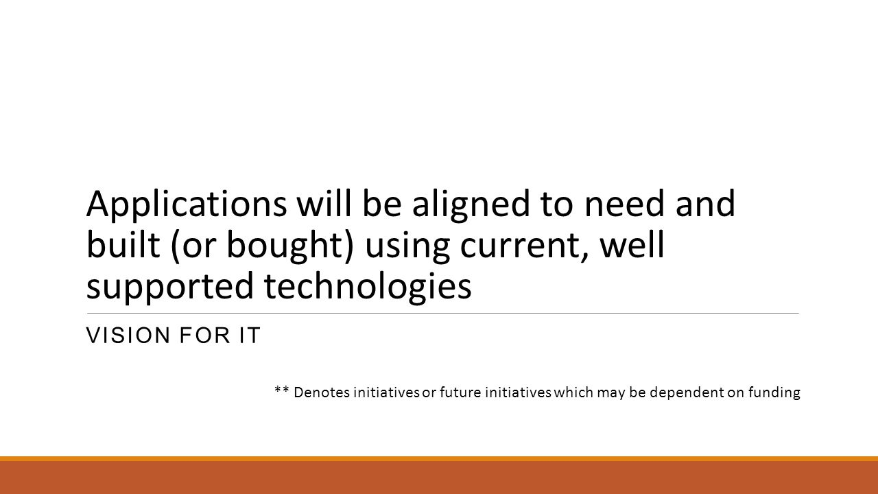 Applications will be aligned to need and built (or bought) using current, well supported technologies
