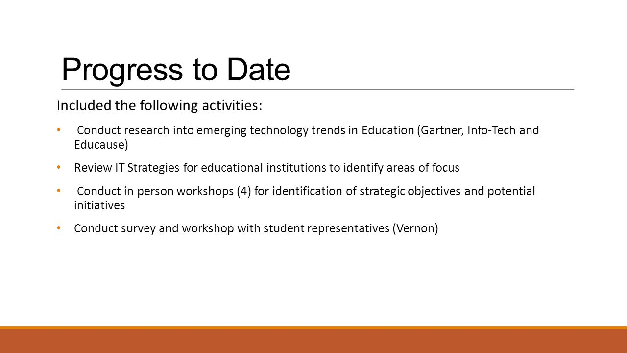 Progress to Date Included the following activities: