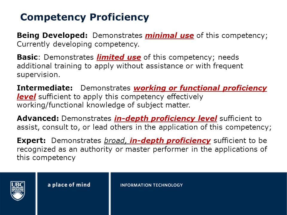Competency Proficiency
