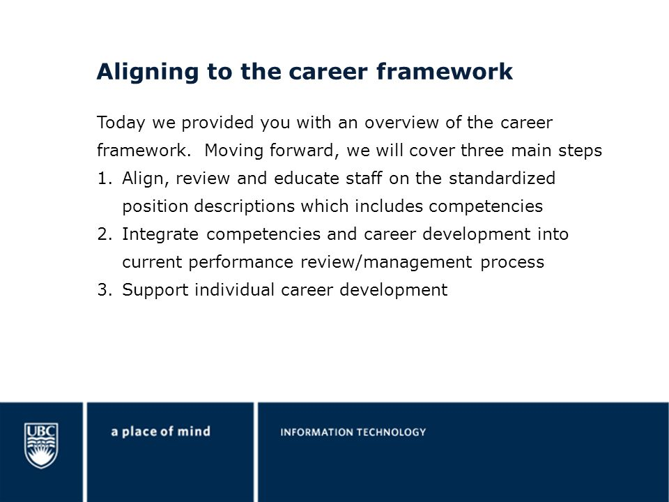 Aligning to the career framework