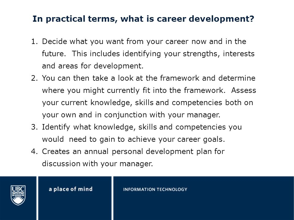 In practical terms, what is career development