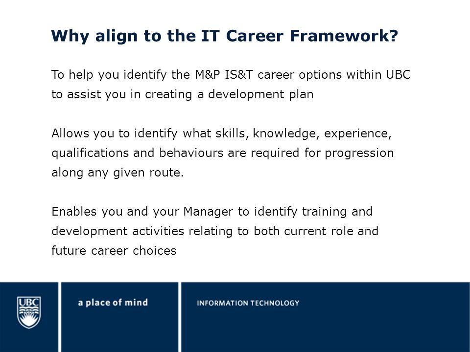 Why align to the IT Career Framework
