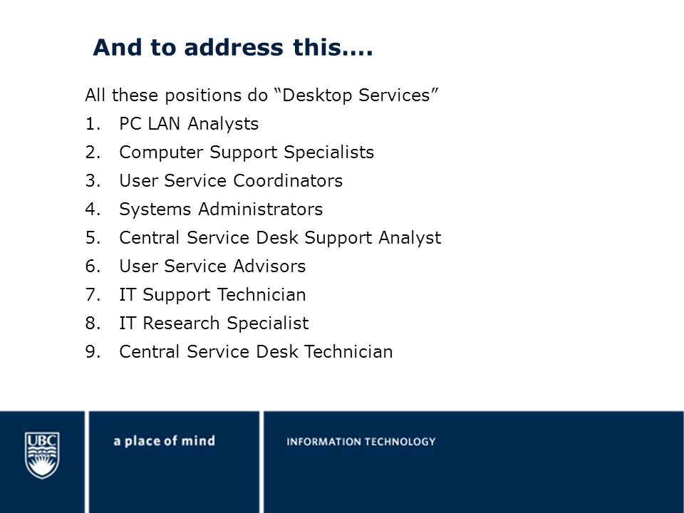 And to address this…. All these positions do Desktop Services