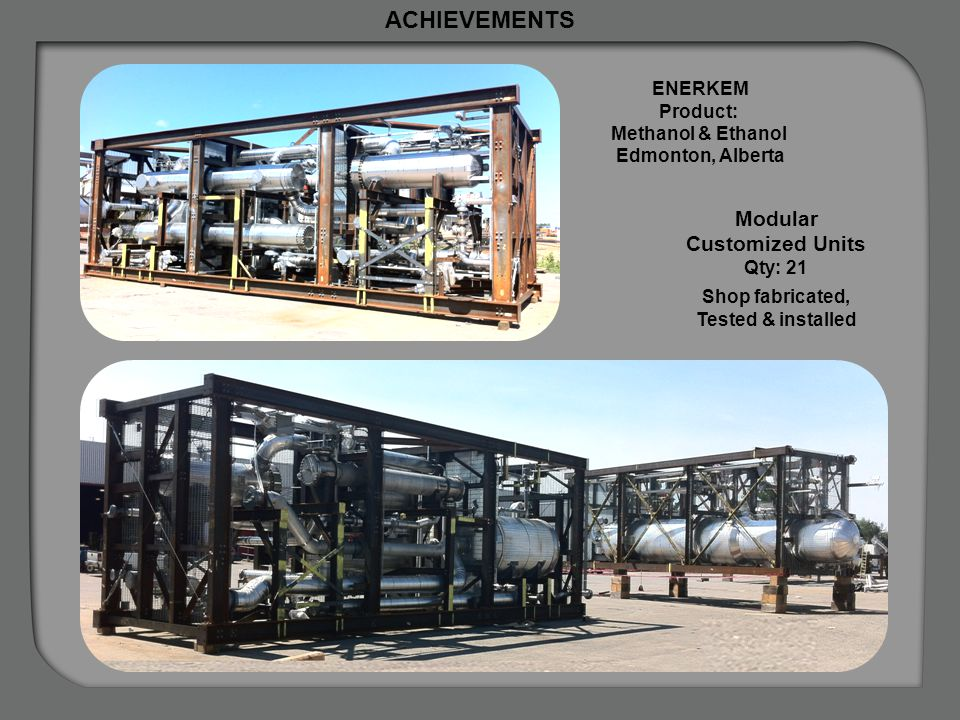 ACHIEVEMENTS Modular Customized Units Plant Lay-out ENERKEM Product: