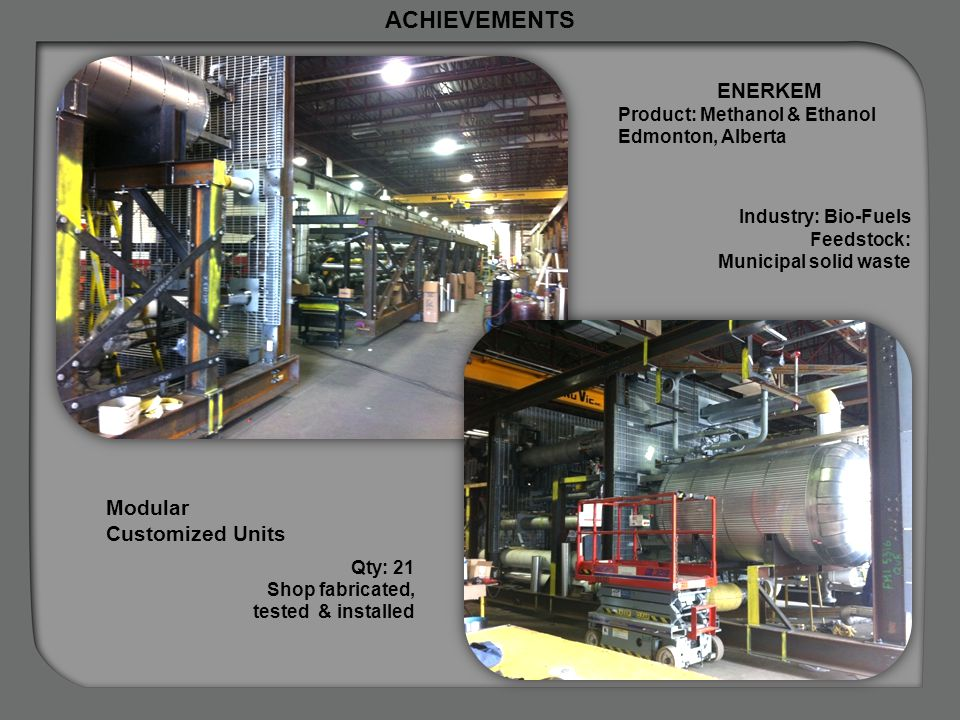 ACHIEVEMENTS ENERKEM Modular Customized Units