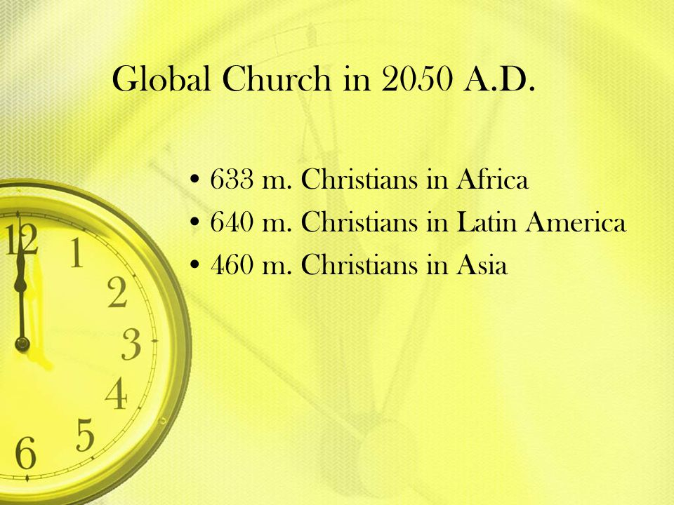 Global Church in 2050 A.D. 633 m. Christians in Africa