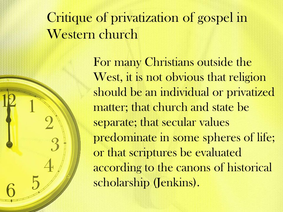 Critique of privatization of gospel in Western church