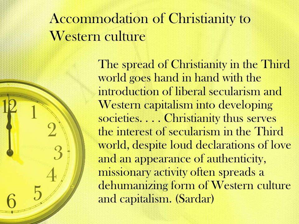 Accommodation of Christianity to Western culture