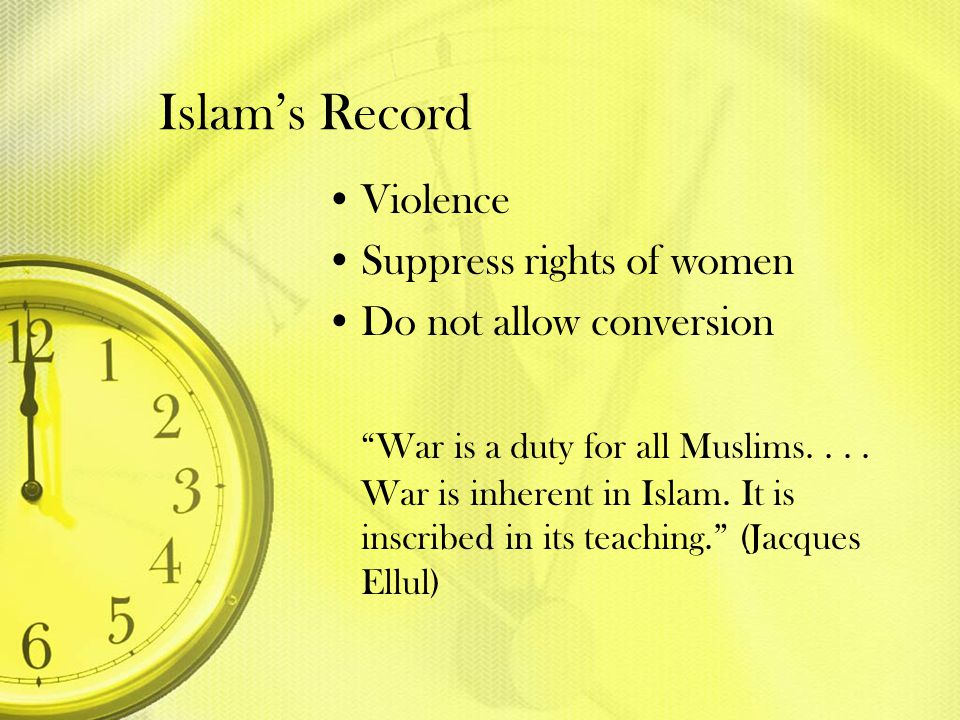 Islam's Record Violence Suppress rights of women