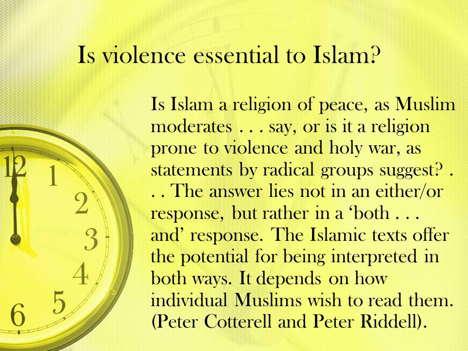 Is violence essential to Islam