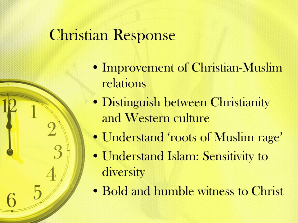 Christian Response Improvement of Christian-Muslim relations