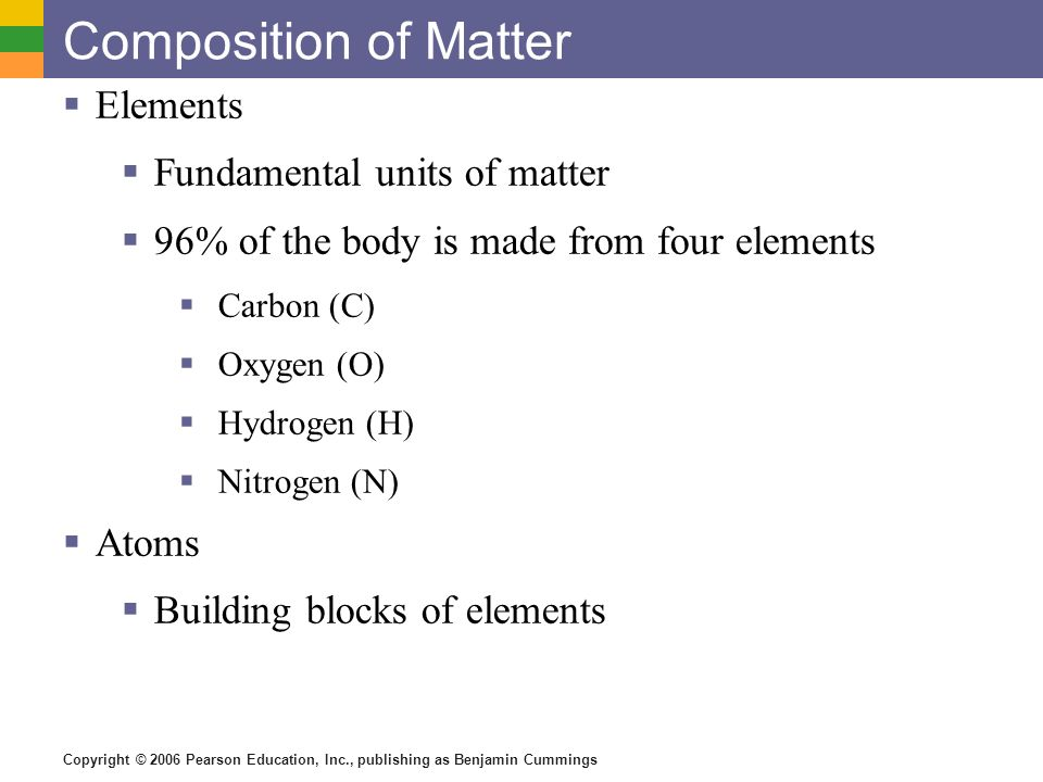 Composition of Matter Elements Fundamental units of matter