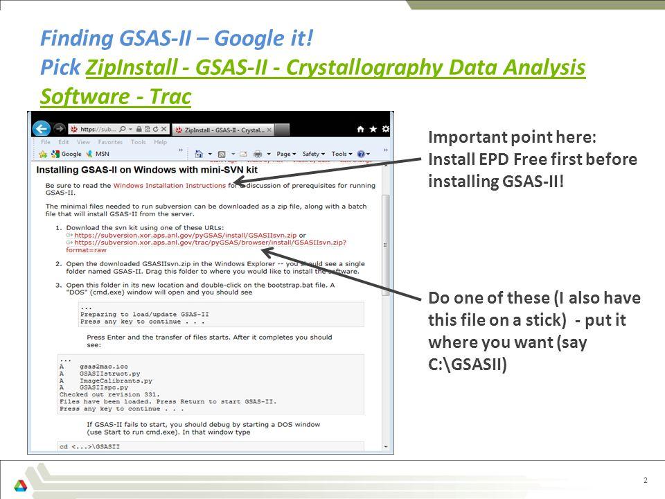 Finding GSAS-II – Google it