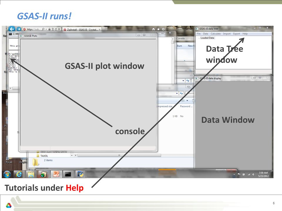 GSAS-II runs! Data Tree window GSAS-II plot window Data Window console
