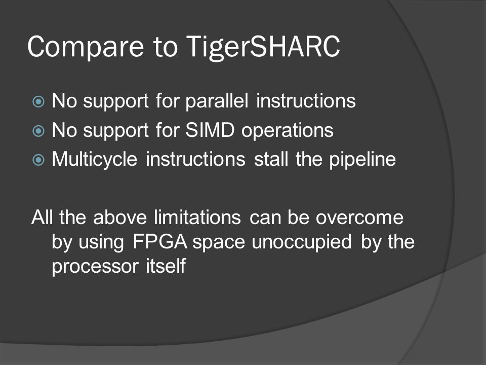 Compare to TigerSHARC No support for parallel instructions