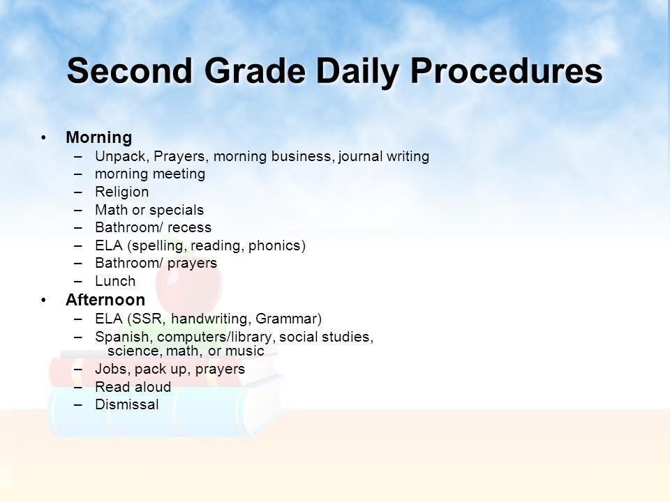Second Grade Daily Procedures