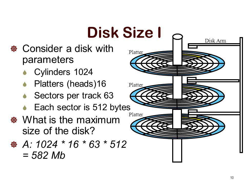 Disk Size I Consider a disk with parameters