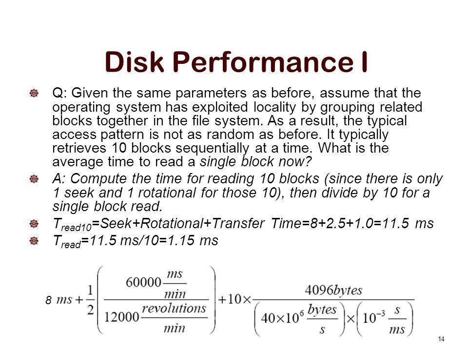 Disk Performance I