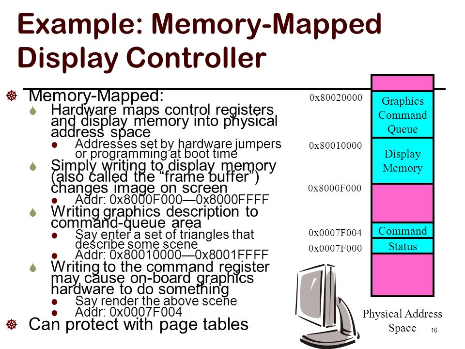Advantages: memory mapped I/O