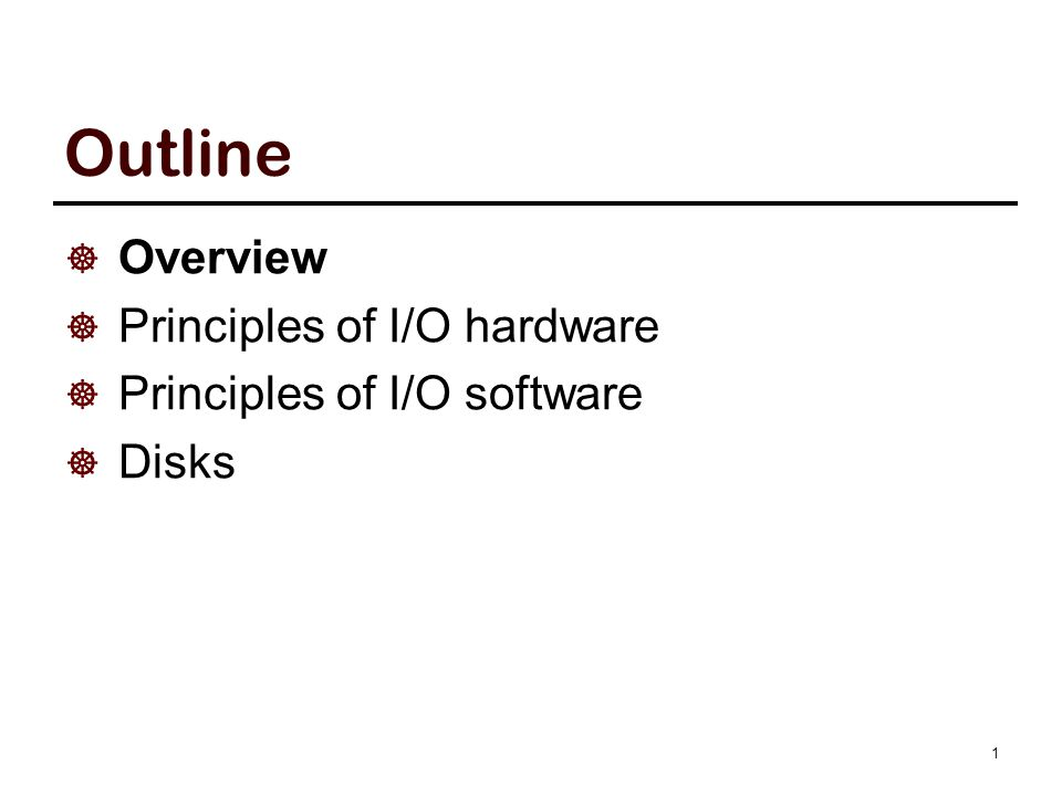 The Requirements of I/O