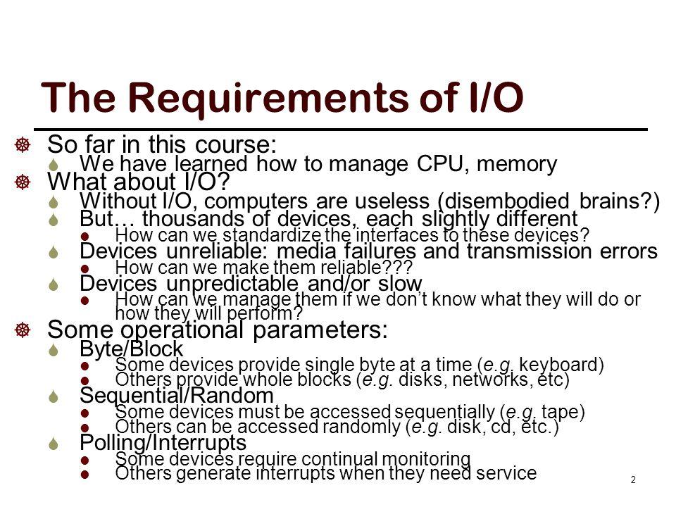 Modern I/O Systems