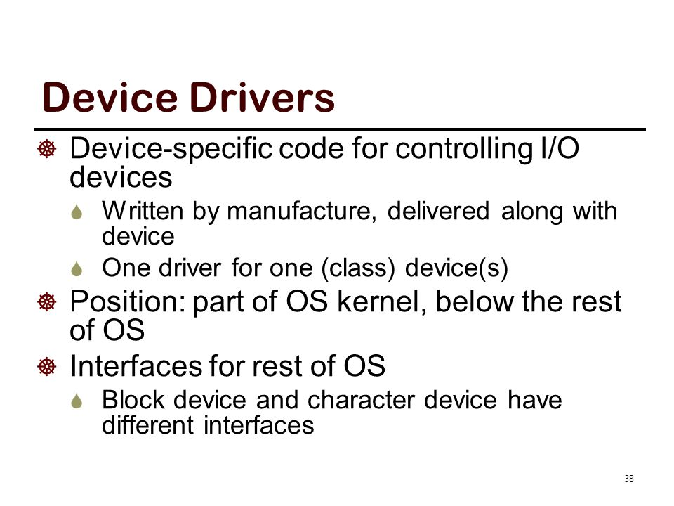 Logical Position of Device Drivers