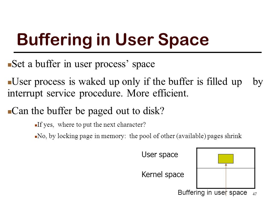 Buffering in Kernel Two buffers: one in kernel and one in user