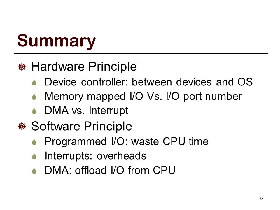 Summary (Cont.) Four layers of I/O software
